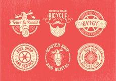 Insieme di progettazione dell'etichetta della bicicletta Negozio, servizio ed affitto della bici Immagini Stock