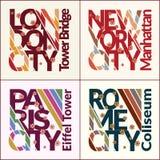 Insieme di progettazione della maglietta NYC, Londra, Roma, Parigi Immagine Stock