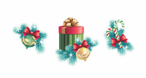 Insieme di progettazione delle decorazioni di Natale Immagini Stock Libere da Diritti