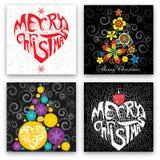 Insieme di progettazione di cartolina di Natale Fotografia Stock