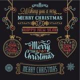 Insieme di progettazione di iscrizione di Natale Immagine Stock