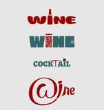 Insieme di progettazione di logo del vino Concetto di tipografia per la vigna illustrazione vettoriale