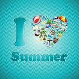 Insieme di progettazione di vacanza estiva del cuore di amore di vettore sul fondo blu dell'onda. Fotografia Stock Libera da Diritti
