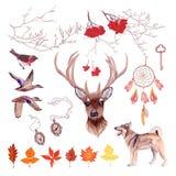 Insieme di progettazione di vettore di caccia di autunno Tutti gli elementi e pubblicano Fotografia Stock