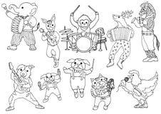 Insieme di progettazione disegnata a mano divertente dell'illustrazione di vettore della banda animale di musica Fotografia Stock
