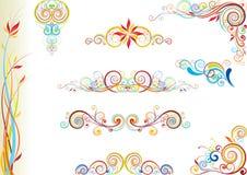 Insieme di progettazione floreale di colore Immagini Stock