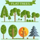 Insieme di progettazione piana degli alberi verdi Fotografia Stock Libera da Diritti