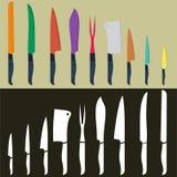 Insieme di progettazione piana del coltello da cucina Fotografia Stock Libera da Diritti
