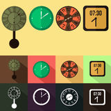 Insieme di progettazione piana dell'orologio di parete Fotografie Stock Libere da Diritti