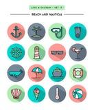 Insieme di progettazione piana, di ombra lunga, della linea sottile spiaggia e del ico nautico Fotografia Stock