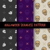 Insieme di progettazione senza cuciture della stampa del modello di Halloween illustrazione di stock