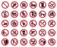 Insieme di proibire i segni Fotografie Stock Libere da Diritti
