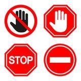 Insieme di proibire segno segni della fermata su fondo bianco Fotografie Stock