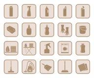 Insieme di pulizia dell'icona Fotografie Stock Libere da Diritti
