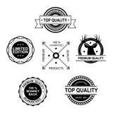 Insieme di qualità premio ed etichette e distintivi di garanzia illustrazione vettoriale