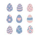 Insieme di quarzo rosa e delle uova di Pasqua di vettore di serenità Immagini Stock Libere da Diritti