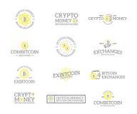 Insieme di retro bitcoin e logos o insegne di cryptocurrency, emblemi, etichette e distintivi d'annata ed altro marcare a caldo Immagini Stock Libere da Diritti