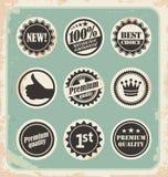 Insieme di retro contrassegni, distintivi, bolli ed autoadesivi promozionali Immagine Stock