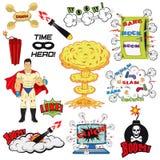Insieme di retro elementi di progettazione di vettore del libro di fumetti Immagini Stock Libere da Diritti