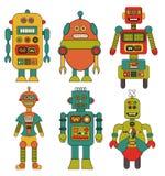 Insieme di retro fumetti dei robot Fotografia Stock Libera da Diritti