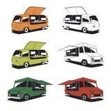 Insieme di retro illustrazioni del camion dell'alimento Immagine Stock Libera da Diritti