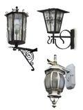 Insieme di retro lampade di via, isolato su bianco con i percorsi di ritaglio Immagine Stock
