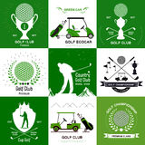 Insieme di retro logos di golf, emblemi Fotografia Stock