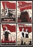 Insieme di retro manifesti di propaganda di comunismo Illustrazione Vettoriale