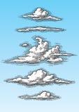 Insieme di retro nuvole Fotografie Stock