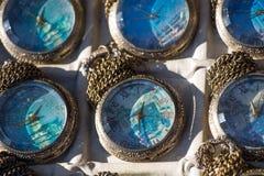 Insieme di retro orologi da tasca del classico di stile Fotografia Stock