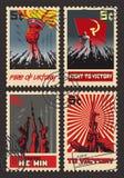 Insieme di retro propaganda di guerra dei francobolli Illustrazione Vettoriale