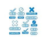 Insieme di retro segni di vettore fatti nello stile di arte del pixel Sì, nessun e c illustrazione di stock