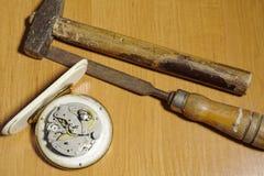 Insieme di riparazione dell'orologio Immagini Stock