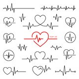Insieme di ritmo cardiaco, elettrocardiogramma, ECG - segnale di elettrocardiogramma illustrazione di stock