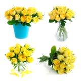 Insieme di rosa del mazzo di colore giallo Immagini Stock