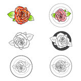 Insieme di Rose Flower Different Logo Design illustrazione vettoriale