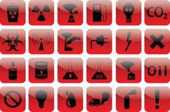 Insieme di ROSSO di inquinamento delle icone Fotografia Stock Libera da Diritti
