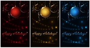 Insieme di rosso di natale, oro, palle blu, illustrazione per la cartolina di Natale Fotografie Stock Libere da Diritti