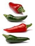 Insieme di rosso e di peperoni verdi, percorsi Fotografia Stock Libera da Diritti