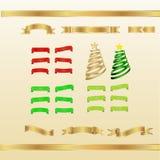 Insieme di rosso, oro e nastri ed insegne verdi Fotografie Stock