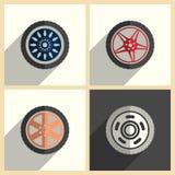 Insieme di ruota dell'automobile delle icone piane con ombra Illustrazione di vettore Illustrazione di Stock