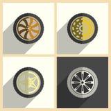 Insieme di ruota dell'automobile delle icone piane con ombra Illustrazione di vettore Illustrazione Vettoriale
