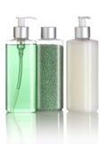Insieme di sale da bagno, di sciampo e di sapone liquido fotografia stock