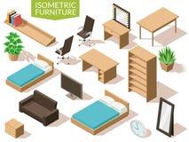 Insieme di salone isometrico della mobilia Mobilia isometrica del salone nella gamma marrone chiaro con la tavola della sedia del illustrazione vettoriale