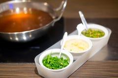 Insieme di salsa per stile di shabu di shabu Fotografia Stock