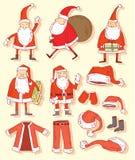 Insieme di Santa Claus Christmas Illustrazione di vettore Fotografia Stock