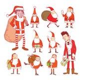 Insieme di Santa Claus Christmas Illustrazione di vettore Immagine Stock Libera da Diritti
