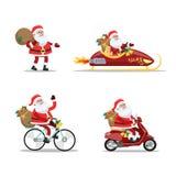 Insieme di Santa Claus divertente sveglia illustrazione di stock