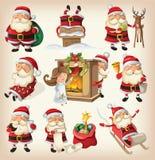 Insieme di Santa Clauses Immagini Stock