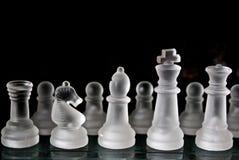 Insieme di scacchi di vetro Fotografia Stock Libera da Diritti